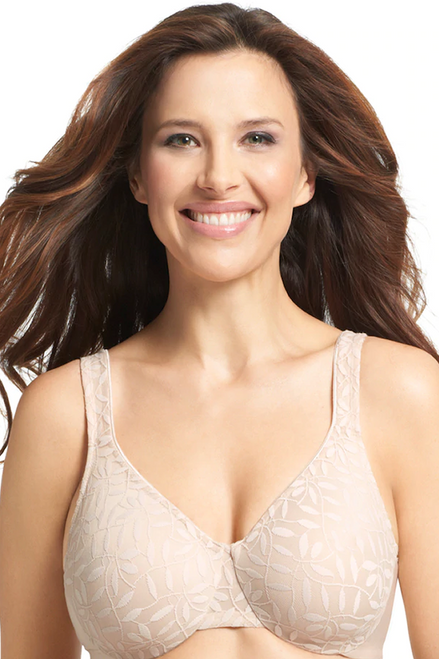 Olga Stretch Lace Sheer Leaves Full Coverage Underwire Minimizer Bra 35519
