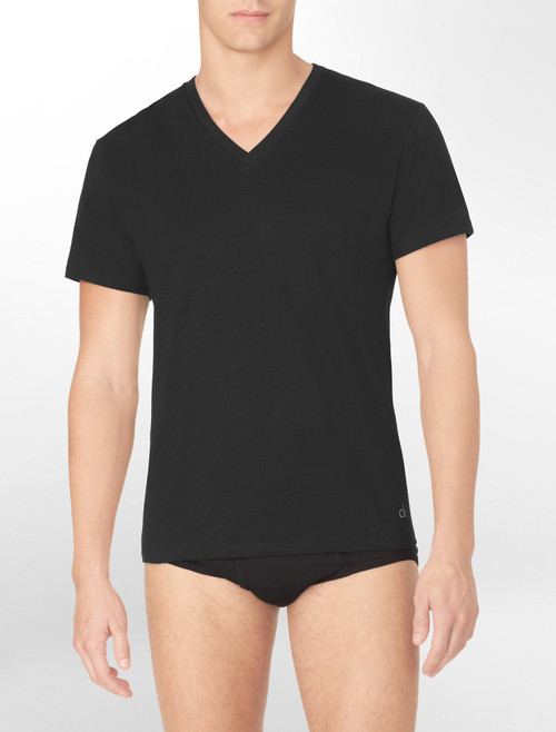Calvin Klein Cotton Classic Fit 3 Pack Short Sleeve V-Neck T-Shirt M4065