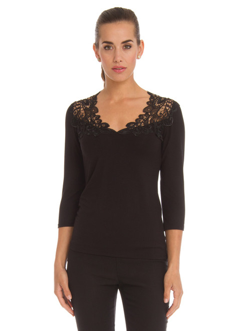 Arianne Teri 3 Quarter Sleeve Knit Top with Lace Appliqué  9501