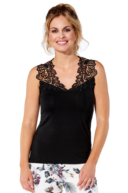 Arianne Teri Reversible Lace Knit Top with Appliqué 5501
