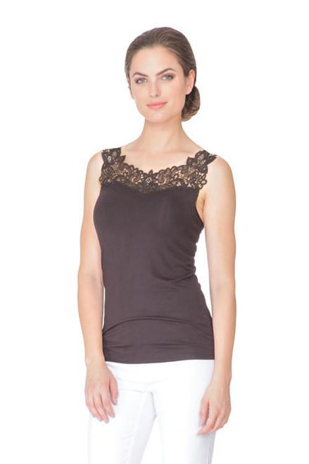 Arianne Teri Knit ReversibleTop with Lace Appliqué 5194