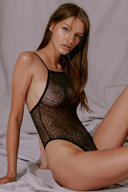 Blush Revolve Lace Wireless Sheer Bodysuit 236750