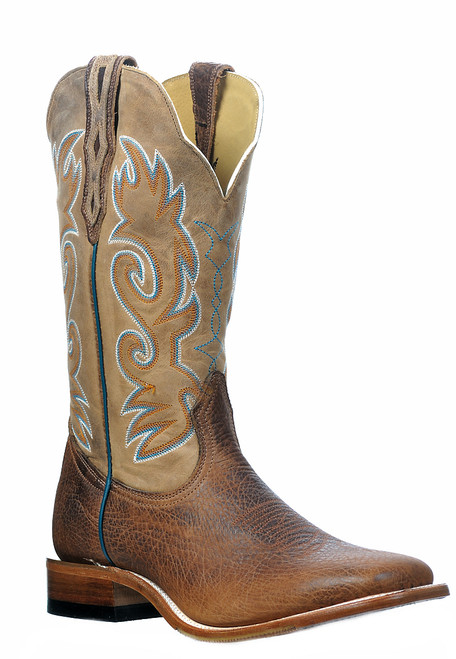 Men's Boulet 9343 Brown with Wide Square Toe and Stockman Heel