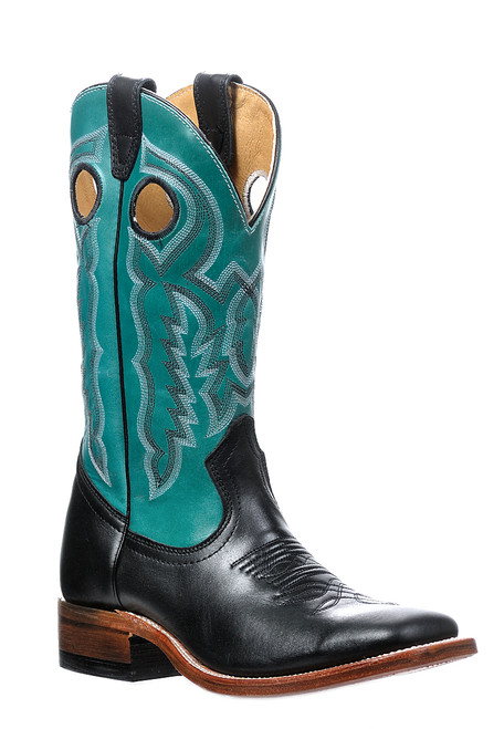 Women's Boulet 9383 Black and Turquoise with Wide Square Toe and Stockman Heel