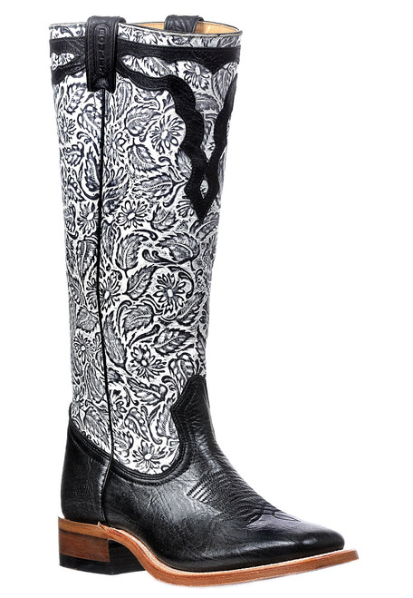 Women's Boulet 0315 Black Buckaroo with Wide Square Toe and Stockman heel
