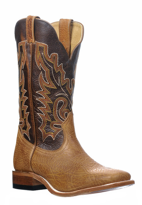 Men's Boulet 0317 Buckskin with Hybrid Sole, Wide Square Toe, and Stockman Heel