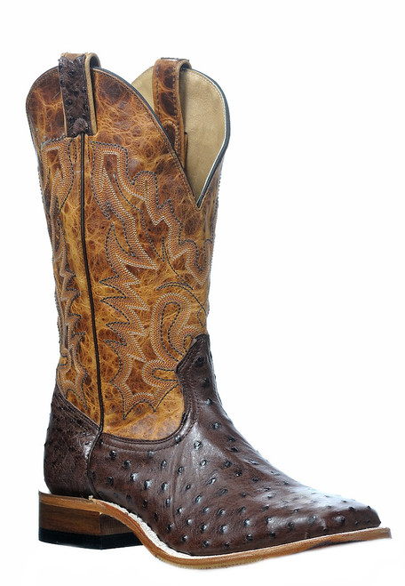 Men's Boulet 0581 Chocolate and Cognac Full Quill Ostrich with Hybrid Sole, Wide Square Toe, and Stockman Heel