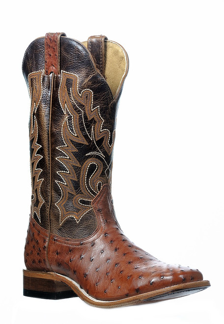 Men's Boulet 0582 Brandy Full Quill Ostrich with Hybrid Sole, Wide Square Toe, and Stockman Heel