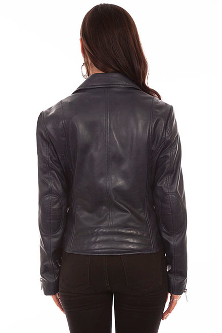 Women's Scully L1048  Navy Leather Motorcycle Jacket