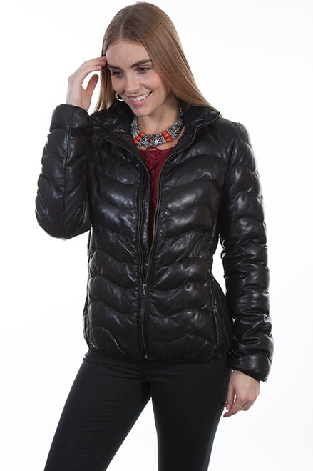 Women's Scully L620 Ribbed Leather Jacket