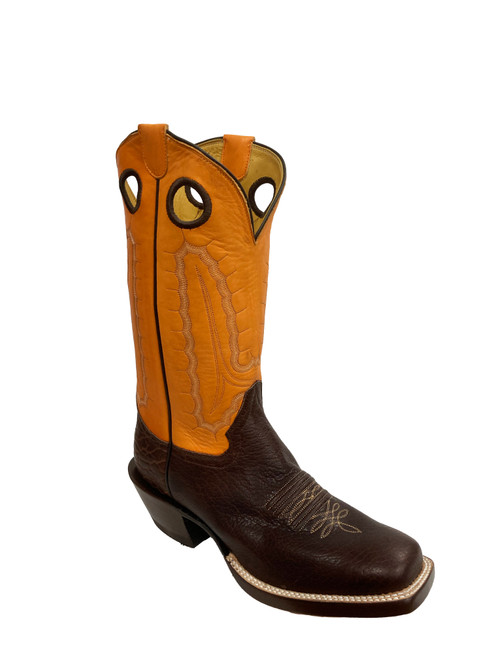 Men's Honcho Chocolate and Mango Buffalo with Wide Square Toe and Riding Heel