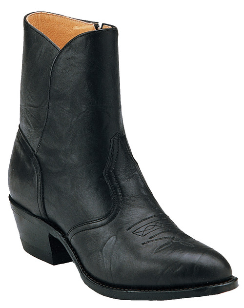 Men's Boulet 2220 Black Western Dress Boot with Rubber Sole, Medium Cowboy Toe, and Cowboy Heel