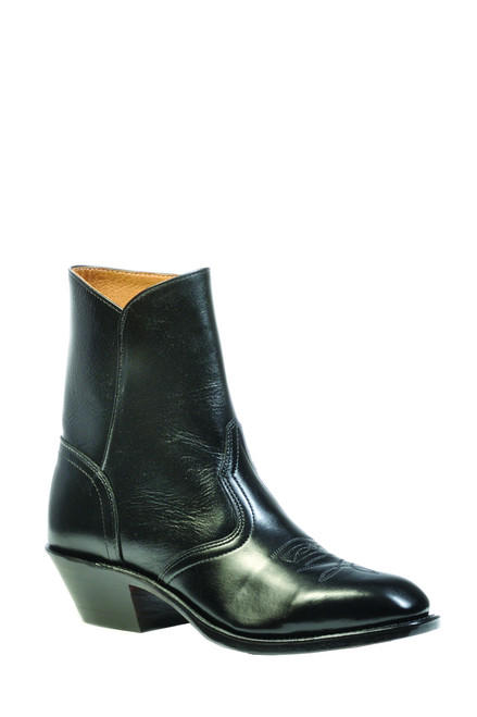 Men's Boulet 1114 Black Western Dress Boot with Side Zipper,  Western Dress Toe, and Cowboy Heel.  Made in Canada.