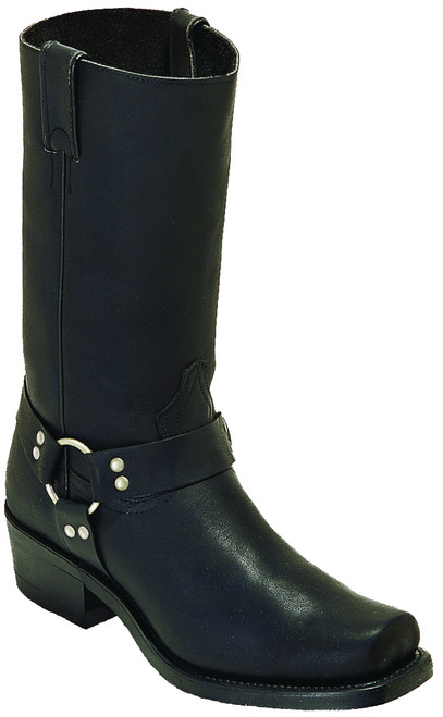 Men's Boulet 0017 Black Motorcycle Boots with Broad Square Toe