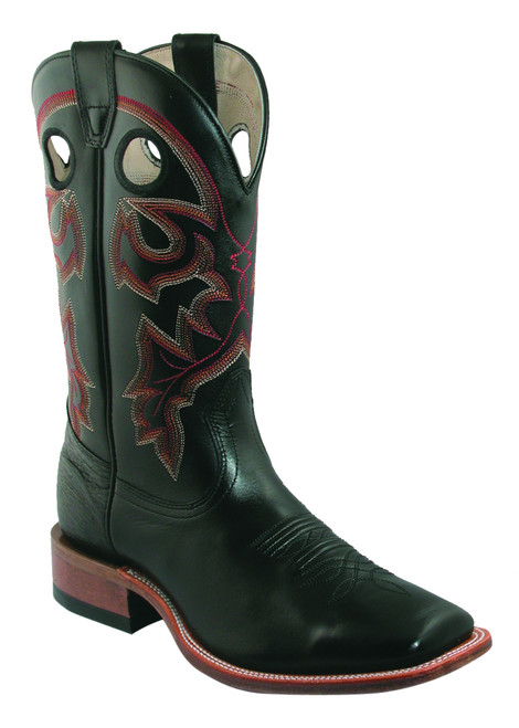 Men's Boulet 7063 Black with Wide Square Toe and Stockman Heel. Made in Canada.