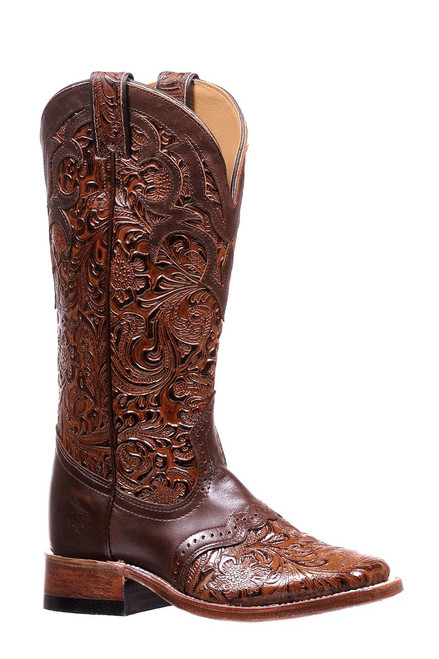 Women's Boulet 1062 Brown Embossed with Saddle Vamp, Wide Square Toe and Stockman Heel