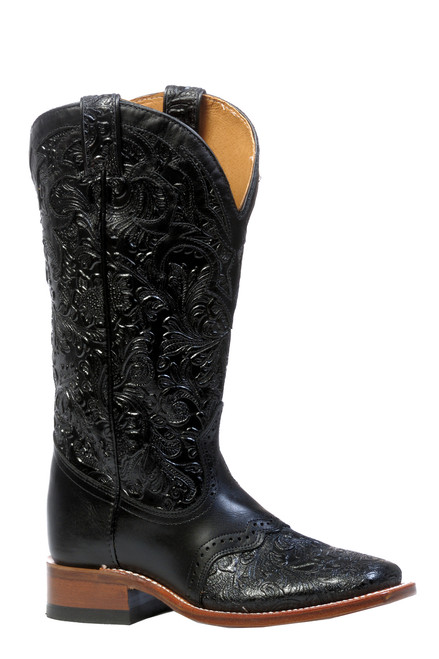 Women's Boulet 4311 Black Embossed with Saddle Vamp, Wide Square Toe and Stockman Heel