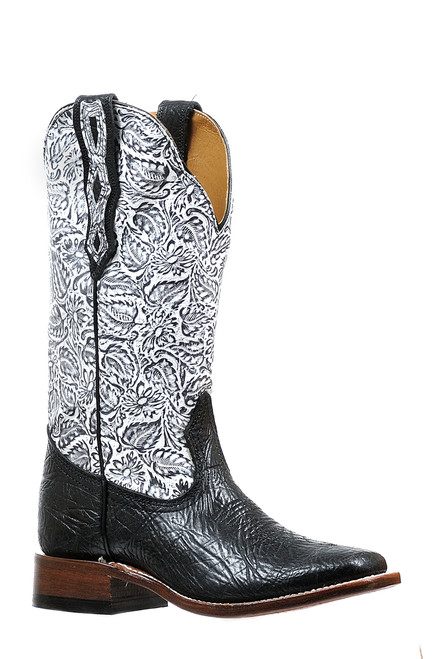Women's Boulet 6295 Black and White Embossed Shaft with Wide Square Toe and Stockman Heel