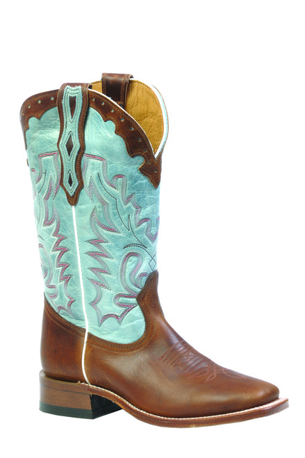 Women's Boulet 3097 Brown and Light Blue with Wide Square Toe and Stockman Heel