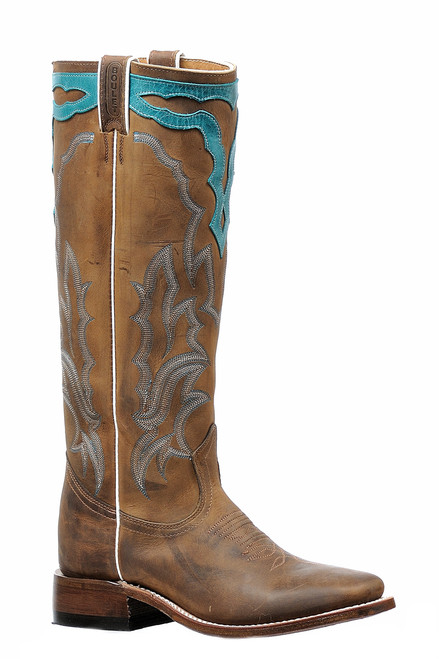 Women's Boulet  6205 Brown and Turquoise Stovetop with Wide Square Toe and Stockman Heel