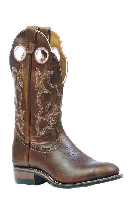 Women's Boulet 0297 Brown with Rubber Sole, Round Toe, and Roper Heel