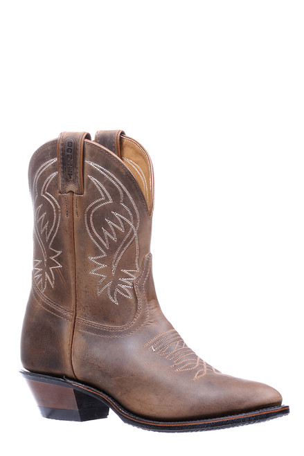 Woman's Boulet 5190 western Cowboy Boot Brown with Short Shaft and Rubber Sole; Medium Cowboy Toe and Cowboy Heel. Ladies Cowgirl Boot.
