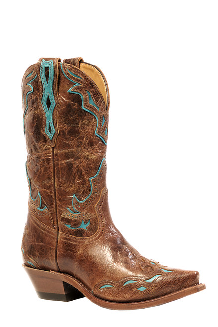 Women's Boulet 4622 Brown with Turquoise Accents; Snip Toe and Cowboy Heel