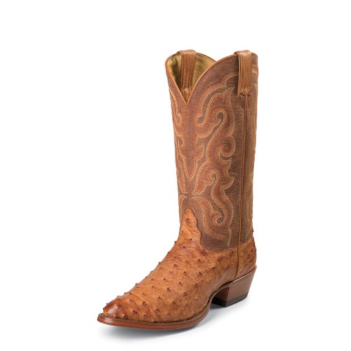 Men's Nocona MD8502 Cognac Full Quill Ostrich with Medium Round Toe and Underslung Heel