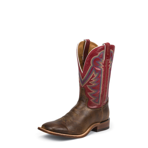 Men's Tony Lama 7981 Brown and Red with Square Toe and Walking Heel