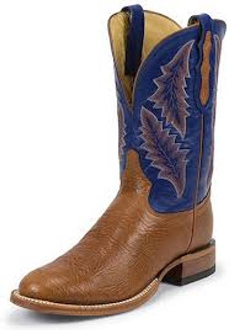 Men's Tony Lama SS3002 Rust and Blue with Wide Round Toe and Walking Heel