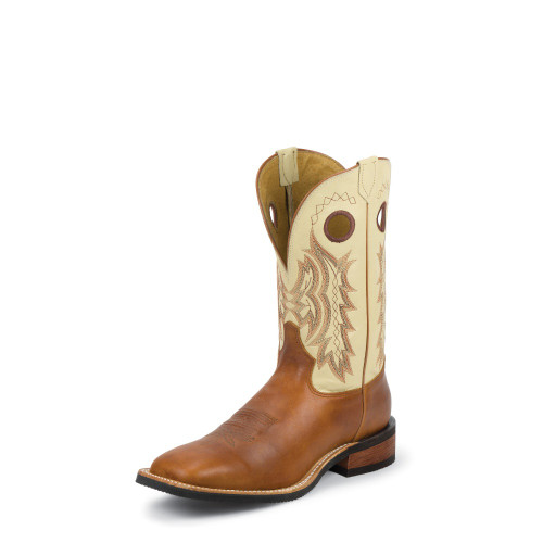 Men's Tony Lama 7970 Brown and Bone with Rubber Sole, Deep Scallop, Square Toe, and Walking Heel