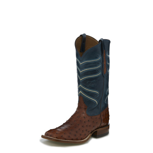 Men's Tony Lama CL823 Rust Full Quill Ostrich with Small Square Toe and Walking Heel