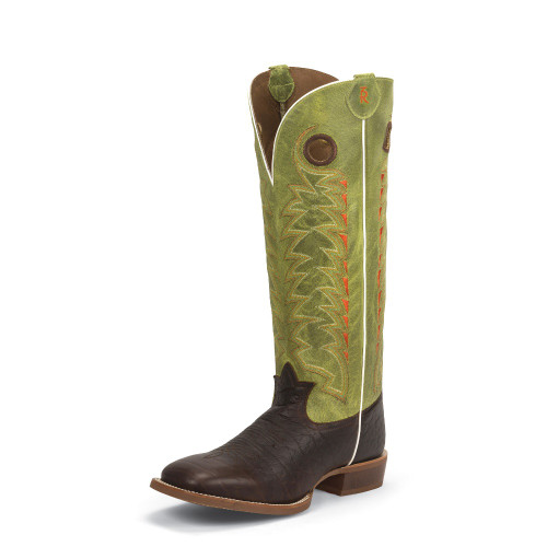 Men's Tony Lama 3R1028 Chocolate and Green Buckaroo with Rubber Sole, Square Toe, and Walking Heel