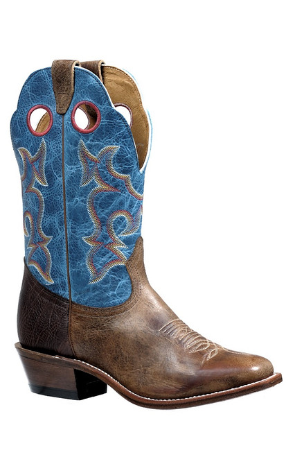Men's Boulet 4736 Tan and Blue with Square Toe and Horseman Heel