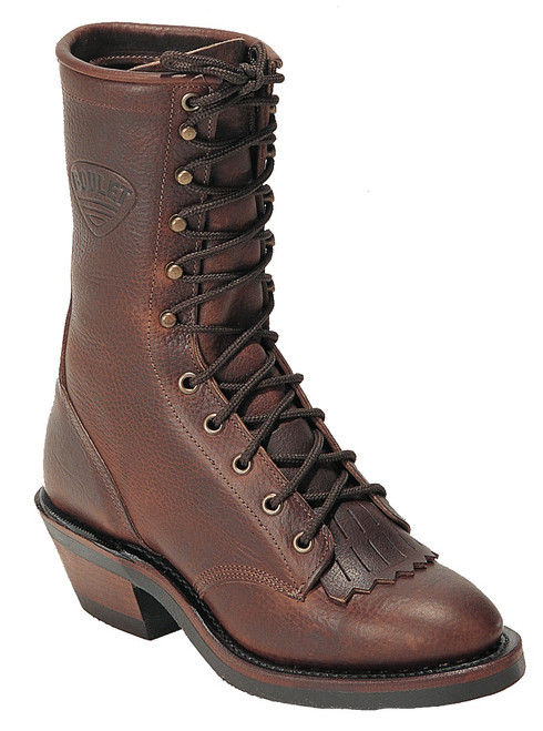 Men's Boulet 8099 Brown Packer with Rubber Sole, Round Toe, and Horseman Heel