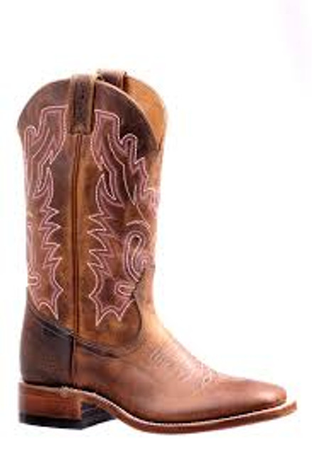 Women's Boulet 7220 Tan with Rubber Sole, Wide Square Toe, and Stockman Heel