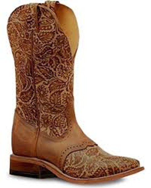 Women's Boulet 6341 Embossed Tan with Saddle Vamp, Rubber Sole, Wide Square Toe, and Stockman Heel