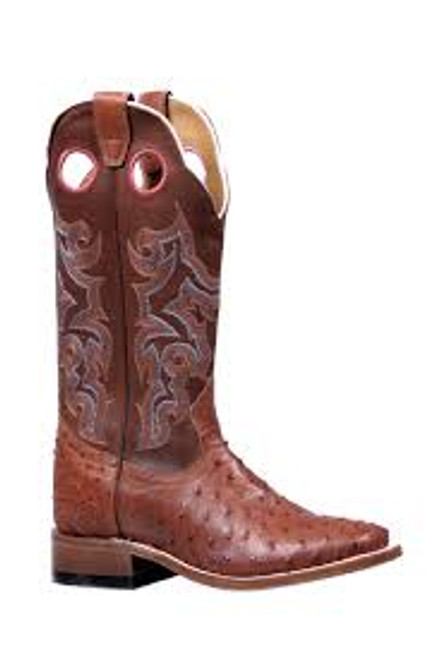 Women's Boulet 5526 Rust Smooth Ostrich with Wide Square Toe and Stockman Heel