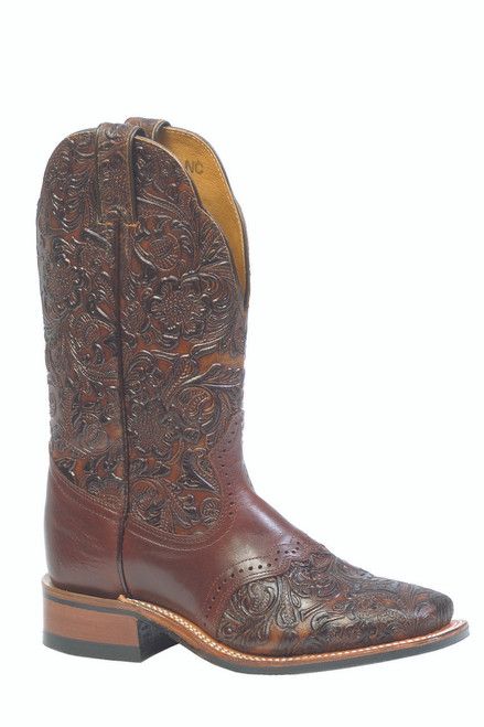 Women's Boulet 2050 Embossed Brown with Saddle Vamp, Rubber Sole, Wide Square Toe, and Stockman Heel