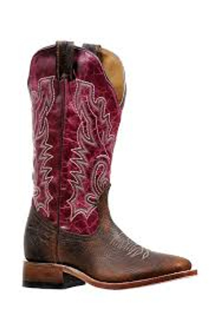 Women's Boulet 6251 Chocolate and Magenta with Wide Square Toe and Stockman Heel