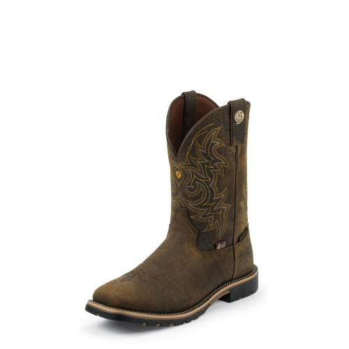 Men's Justin GS9050 Waterproof Brown George Strait with Rubber Sole, Square Toe, and Unit Heel