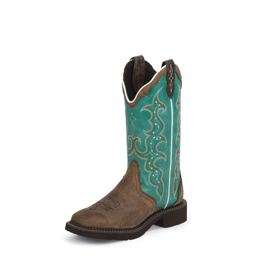 Women's Justin L2904 Brown and Turquoise Gypsy with Square Toe