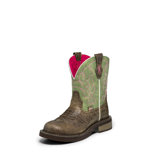 Women's Justin L2929 Brown and Green Gypsy with Round Toe