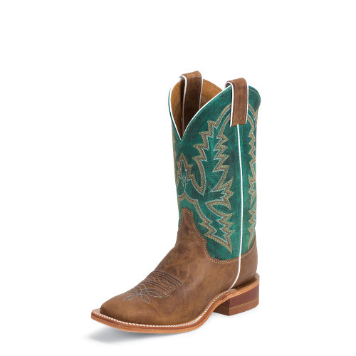 Women's Justin BRL317 Tan and Green with Square Toe and Block Heel