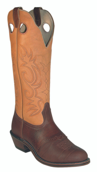 Men's Boulet 2042 Tan and Brown Buckaroo with Round Toe and Horseman Heel