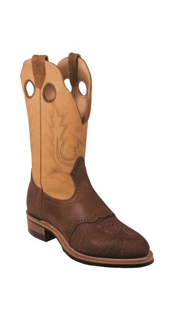 Men's Boulet 2044 Tan and Brown with Rubber Sole, Round Toe, and Roper Heel