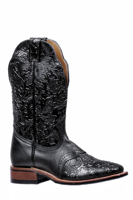 Women's Boulet 5167 Embossed Black with Saddle Vamp, Rubber Sole, Wide Square Toe, and Stockman Heel