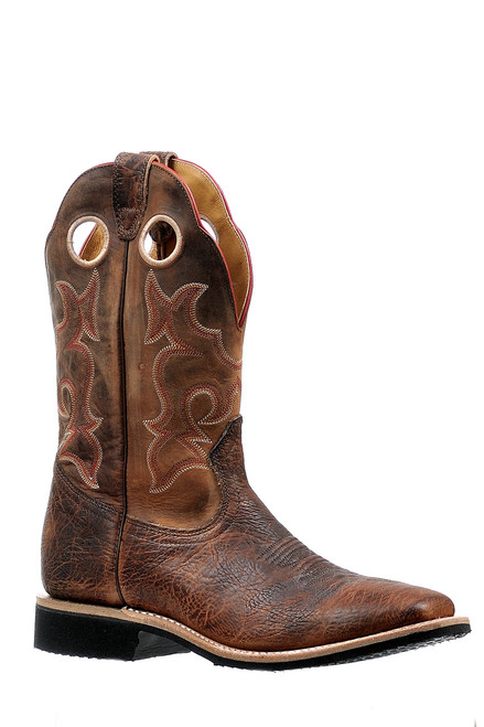 Men's Boulet 6247 Brown Extralight with Rubber Sole, Wide Square Toe, and Stockman Heel