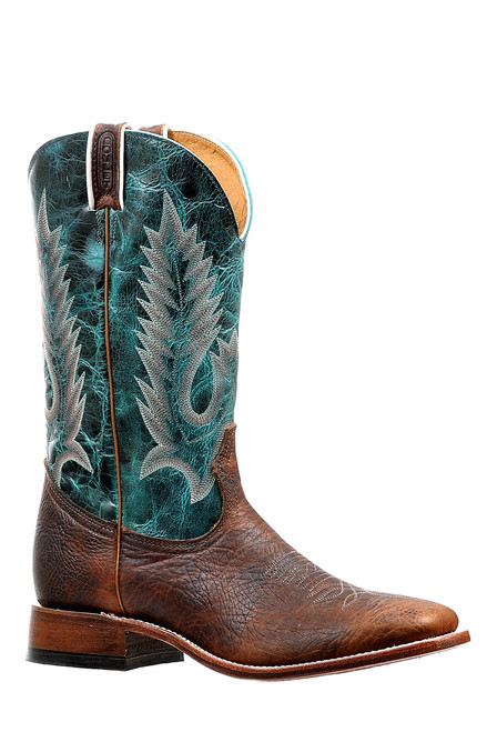 Men's Boulet 6250 Brown and Turquoise with Wide Square Toe and Stockman Heel