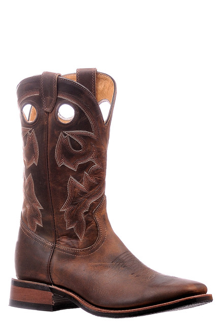 Men's Boulet 6266 Brown with Rubber Sole, Wide Square Toe, and Stockman Heel